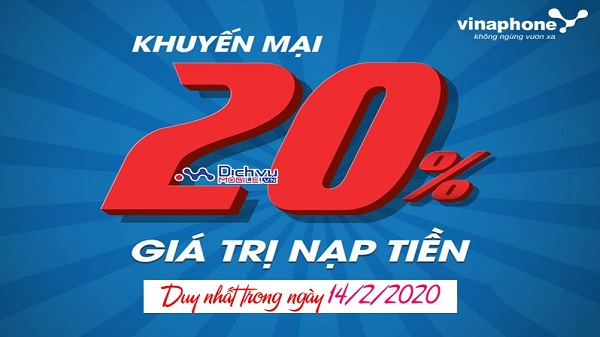 vinaphone khuyen mai the nap ngay 14-2-2020