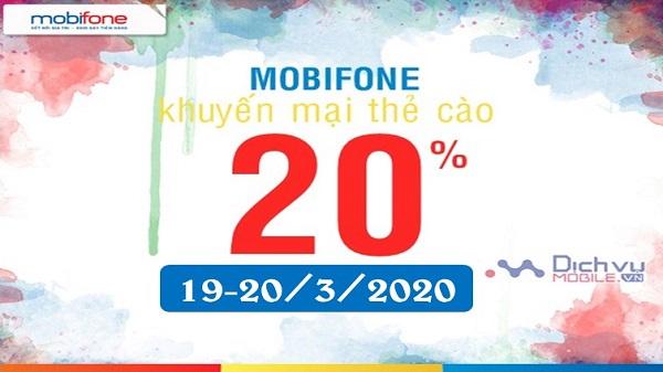 Mobifone khuyen mai the nap hai ngay 19-20 thang 3