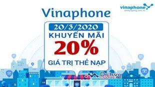 Vinaphone khuyen mai the nap ngay 20-3-2020