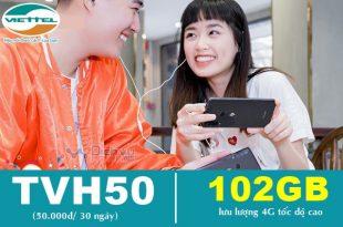 Hướng dẫn đăng ký gói TVH50 Viettel miễn phí 102GB chỉ 50,000đ
