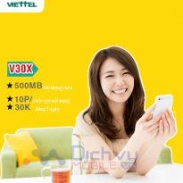 Đăng ký gói V30X Viettel có 3,5GB và free 10 phút gọi đầu chỉ 30k/7 ngày