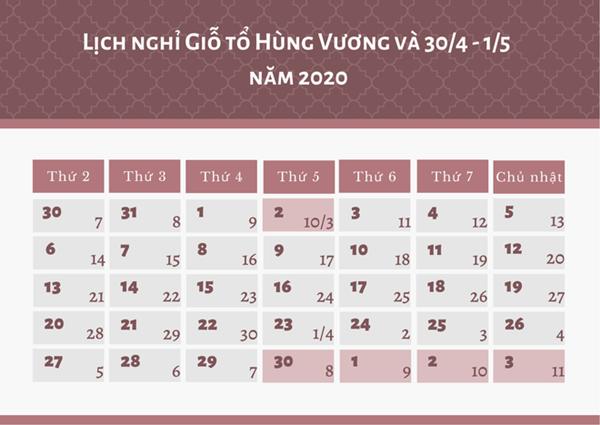 Lịch nghỉ lễ giỗ tổ Hùng Vương 10/3/2020 là bao nhiêu ngày?