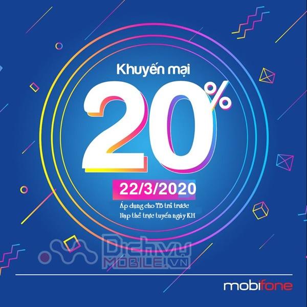 Mobifone khuyến mãi 20% giá trị thẻ nạp trực tuyến duy nhất 22/3/2020
