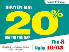 Viettel khuyến mãi 20% giá trị thẻ nạp ngày 10/3/2020
