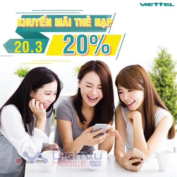 Viettel khuyến mãi tặng 20% giá trị thẻ nạp ngày vàng 20/3/2020