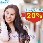 Vinaphone khuyến mãi cục bộ 20% giá trị thẻ nạp ngày 7/4/2020