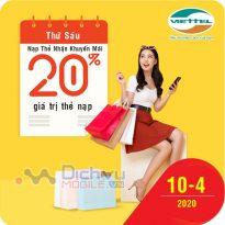 Viettel khuyến mãi 20% giá trị thẻ nạp ngày vàng 10/4/2020