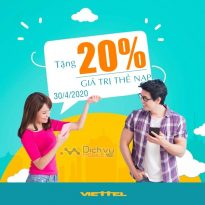 Cực Hot: Viettel khuyến mãi 20% giá trị thẻ nạp 30/4/2020