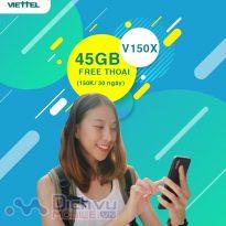 Hướng dẫn đăng ký gói V150X Viettel có 45GB miễn phí gọi chæ 150k