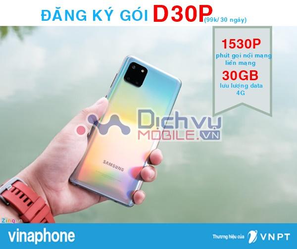Đăng ký gói D30P Vinaphone tặng 30GB, 1530 phút chỉ 99,000đ
