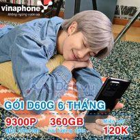 Đăng ký gói 6D60G Vinaphone nhận 9300 phút thoại, 360GB và 120,000đ