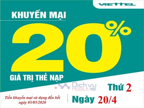 Viettel khuyến mãi tặng 20% giá trị thẻ nạp ngày vàng 20/4/2020