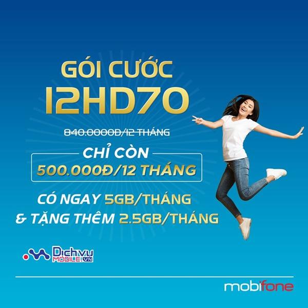 Hướng dẫn đăng ký gói 12HD70 Mobifone nhận 5GB/ tháng lướt web tẹt ga