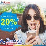Mobifone khuyến mãi tặng 20% giá trị thẻ nạp ngày 27/5/2020