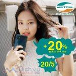 Viettel khuyến mãi 20% giá trị thẻ nạp ngày vàng 20/5/2020
