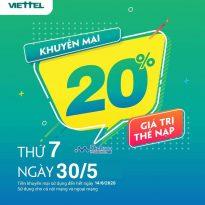 Viettel khuyến mãi 20% giá trị thẻ nạp ngày vàng 30/5/2020