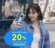 Vinaphone khuyến mãi 20% giá trị thẻ nạp ngày vàng 29/5/2020