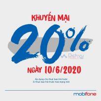 Mobifone khuyến mãi tặng 20% thẻ nạp duy nhất ngày 10/6/2020