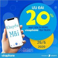 Vinaphone khuyến mãi 20% giá trị thẻ nạp ngày vàng 26/6/2020