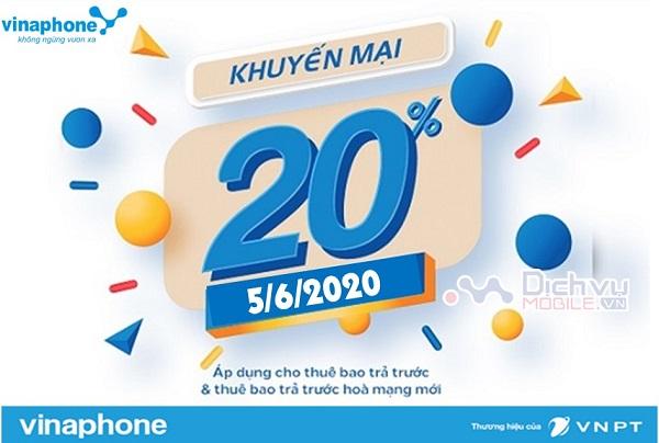Vinaphone khuyen mai the nap ngay vang 5.6.2020