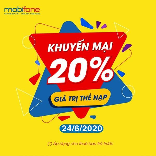 Mobifone khuyến mãi tặng 20% giá trị thẻ nạp ngày vàng duy nhất 24/6/2020