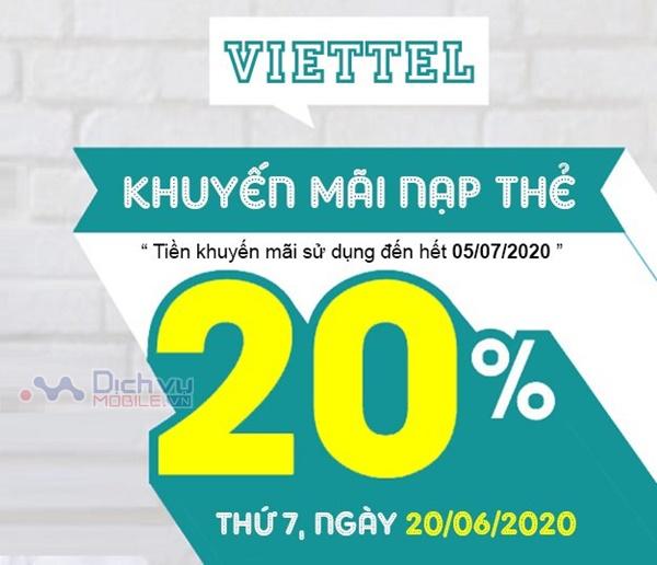 Viettel khuyến mãi tặng 20% giá trị thẻ nạp ngày vàng 20/6/2020