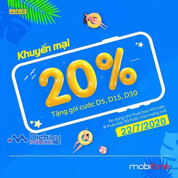 Giải nhiệt mùa hè Mobifone khuyến mãi 20% thẻ nạp ngày vàng 22/7/2020