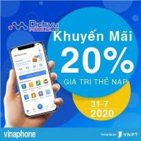 Vinaphone khuyến mãi 20% giá trị thẻ nạp ngày vàng 31/7/2020
