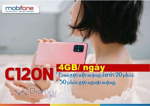 Cách đăng ký gói cước C120N Mobifone ưu đãi 120GB data 4G và Free gọi cả tháng chỉ 120.000đ