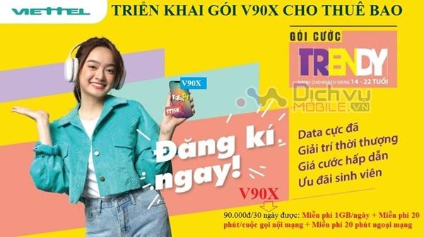 Đăng ký gói V90X Viettel nhận 30GB và free thoại chỉ 90,000đ