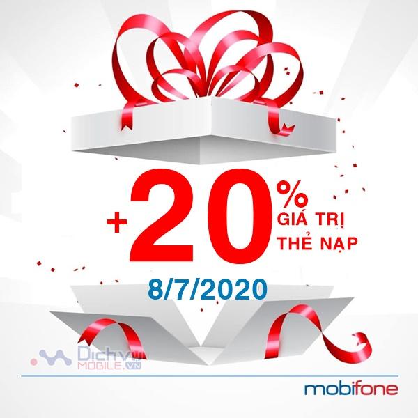 Mobifone khuyến mãi 20% giá trị thẻ nạp ngày 8/7/2020