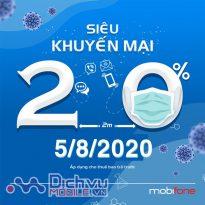 Mobifone khuyến mãi 20% giá trị thẻ nạp duy nhất ngày 5/8/2020
