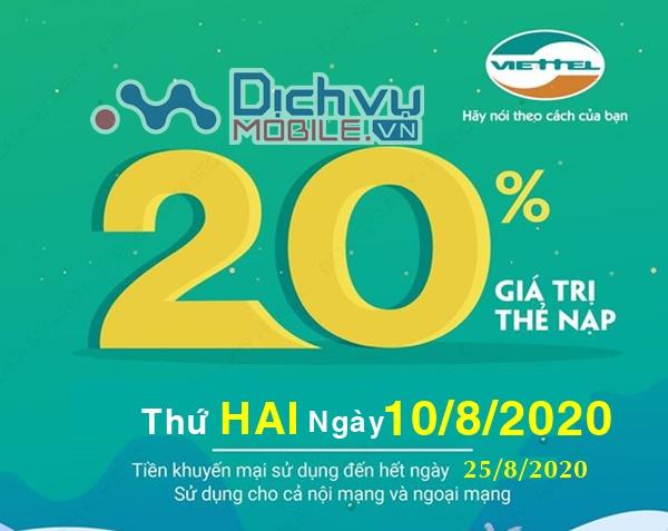 HOT: Viettel khuyến mãi 20% giá trị thẻ nạp ngày vàng 10/8/2020