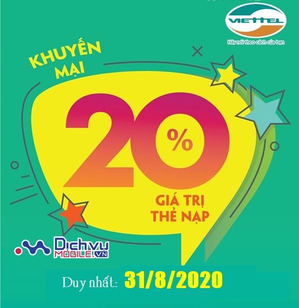 Viettel khuyến mãi 20% giá trị thẻ nạp duy nhất ngày vàng 31/8/2020