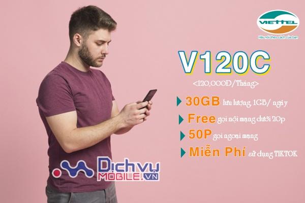 Hướng dẫn đăng ký gói V120C Viettel nhận 1GB/ ngày miễn phí gọi dưới 20 phút