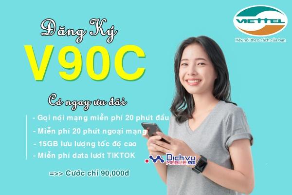 Hướng dẫn đăng ký gói V90C Viettel free 15GB, miễn phí phút gọi và tiktok