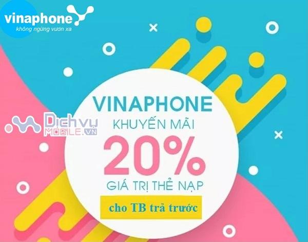 Vinaphone khuyến mãi tặng 20% giá trị thẻ nạp duy nhất ngày vàng 7/8/2020