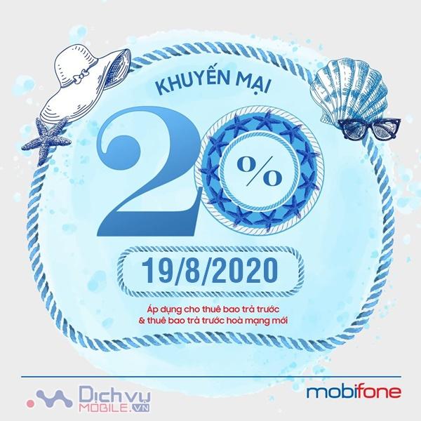Mobifone khuyến mãi 20% giá trị thẻ nạp ngày vàng 19/8/2020