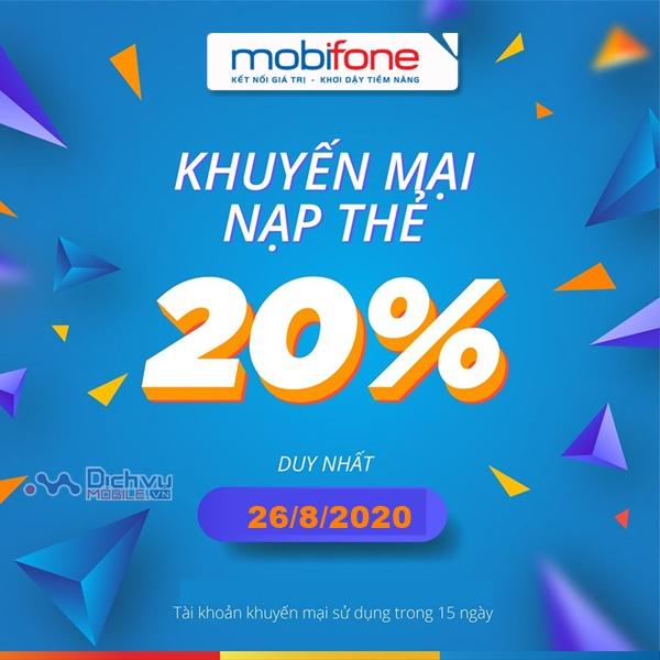 Mobifone khuyến mãi 20% thẻ nạp toàn quốc 26/7/2020