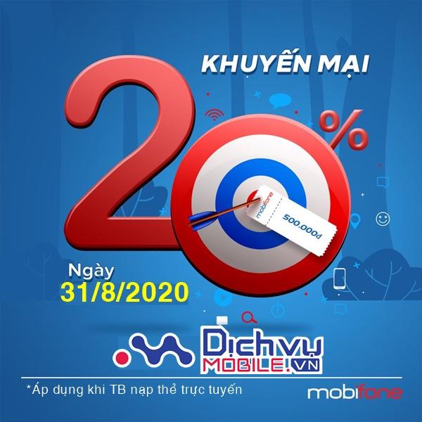 Mobifone khuyến mãi trực tuyến: Tặng 20% thẻ nạp ngày 31/8/2020