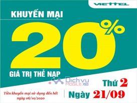 Tin Khuyến Mãi: Viettel tặng 20% thẻ nạp ngày 21/9/2020 cực hấp dẫn