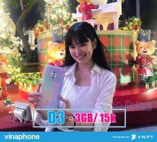Đăng ký gói cước D3 của Vinaphone lưới web tẹt ga với 3GB