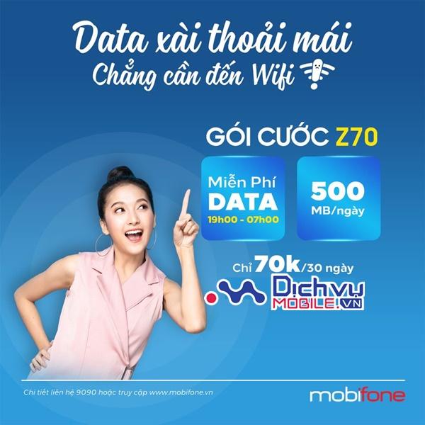 Hướng dẫn đăng ký gói cước Z70 Mobifone có 15GBvà free data từ 19h-7h
