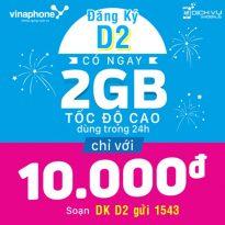 Cách đăng ký gói cước D2 của Vinaphone miễn phí 2GB data 4G 1 ngày chỉ 10.000đ