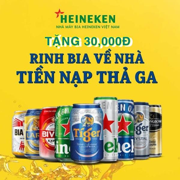 """Nhận thẻ quà tặng cực """"Cool"""" với khuyến mãi Heineken """"Rinh bia về nhà - Tiền nạp thả ga"""""""