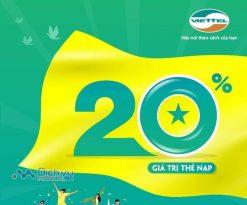 Viettel khuyến mãi 20% giá trị thẻ nạp duy nhất ngày 18/9/2020