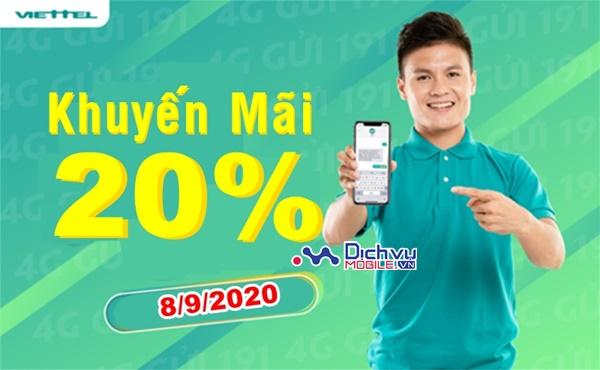 Viettel khuyến mãi cục bộ 20% thẻ nạp ngày 8/9/2020