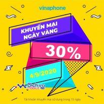 Vinaphone khuyến mãi 30% thẻ nạp duy nhất 4/9/2020