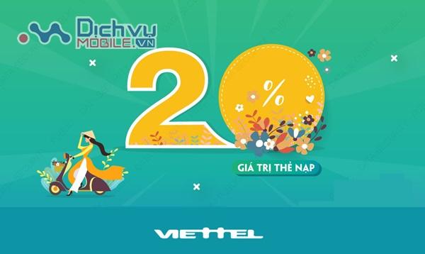 Viettel khuyến mãi 20% thẻ nạp duy nhất ngày vàng 31/10/2020