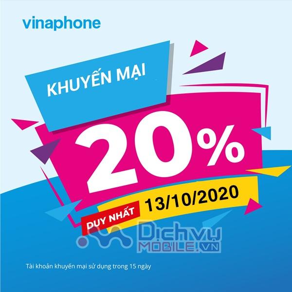 Vinaphone khuyến mãi 20% thẻ nạp ngày 13/10/2020
